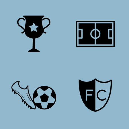 soccer shoe: soccer icon set vector illustration. trophy, cup, stadium, shoe, ball and club Illustration