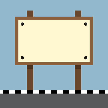footpath: wooden sign board at footpath on the road vector illustration Illustration