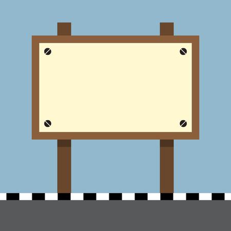bulletins: wooden sign board at footpath on the road vector illustration Illustration