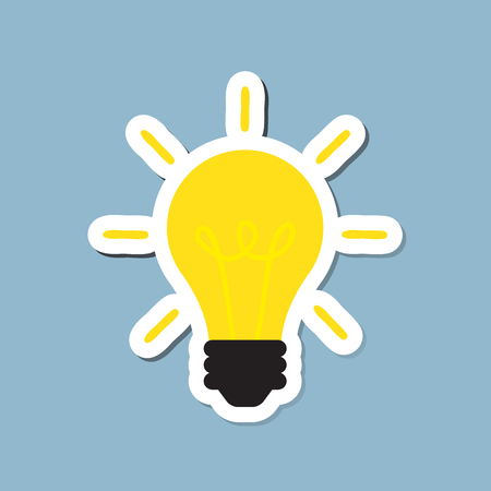 bright light: bright light bulb, creative idea concept. vector illustration