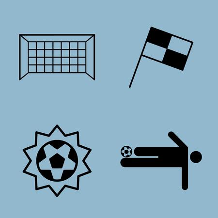 soccer goal: soccer icon set vector illustration. goal, net, flag, ball, shoot and player.