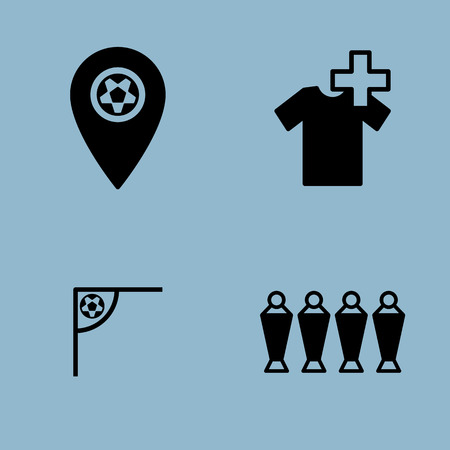 map pin: soccer icon set vector illustration. map pin, injury, substitution, player, corner, ball and wall Illustration