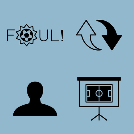 foul: soccer icon set vector illustration. foul, substitution, player, stadium, plan, strategy and board.