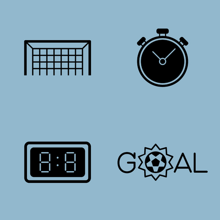stop watch: soccer icon set vector illustration. goal, net, stop watch, time and score.