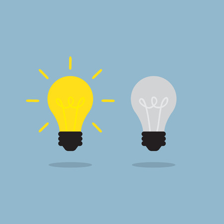 bright light: bright light bulb different among the others, creative idea concept. vector illustration