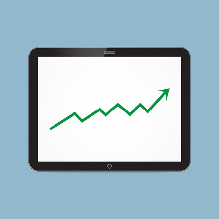high up: stock arrow raise up high with tablet illustration.