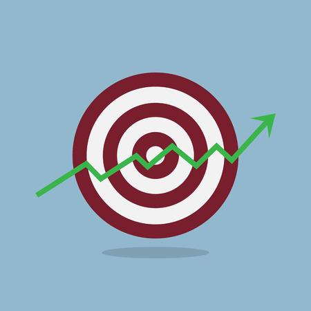raise: stock arrow raise up high with target illustration. Illustration