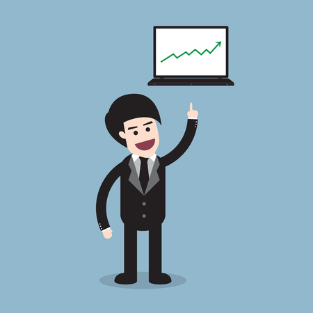 raise: stock arrow raise up high with business man and laptop illustration