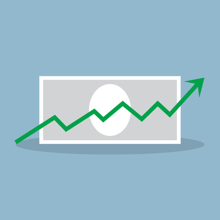 bank note: stock crisis arrow raise up high with bank note vector illustration. Illustration