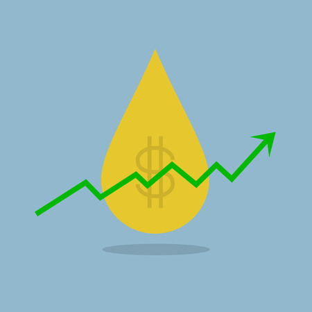 raise: stock arrow raise up with oil price up high vector illustration.