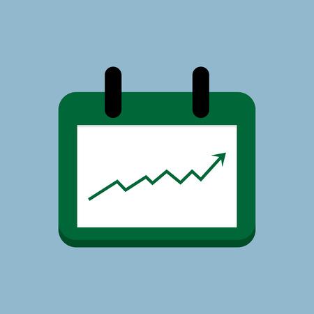 raise: stock arrow raise up high with calendar illustration.