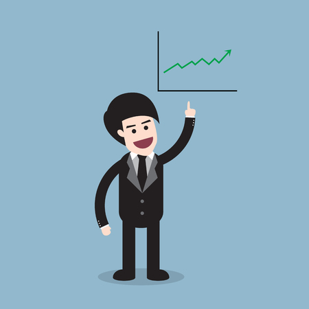 raise: stock arrow raise up high with business man and graph illustration Illustration