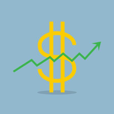 raise: stock arrow raise up high with dollar sign vector illustration.