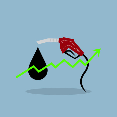 high up: stock arrow raise up with oil price up high illustration.