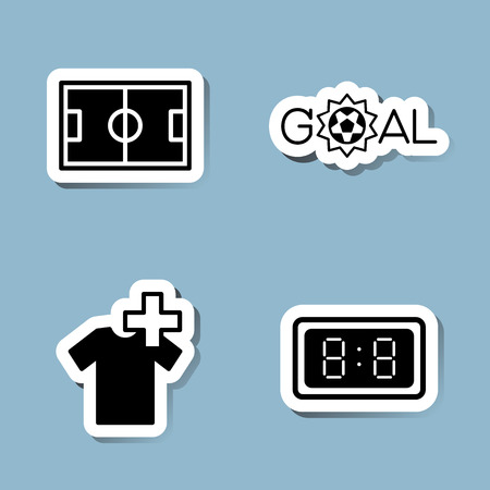 substitution: soccer icon set vector illustration. stadium, field, goal, score, ball, injury, substitution, player, watch and time. Illustration