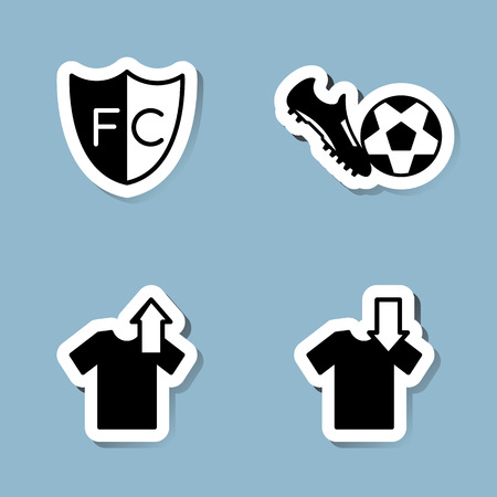 substitution: soccer icon set vector illustration. club, shoe, boot, ball, substitution, player and shirt. Illustration