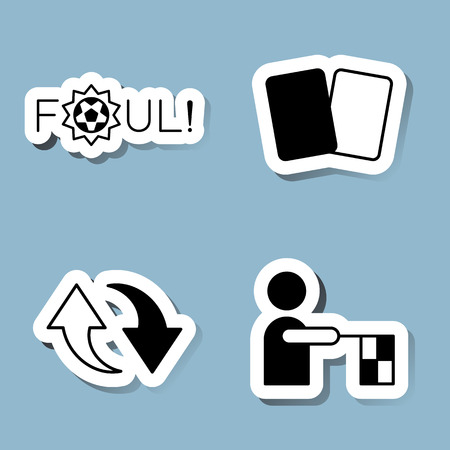 foul: soccer icon set vector illustration. foul, yellow card and red card, substitution, referee, offside and flag.