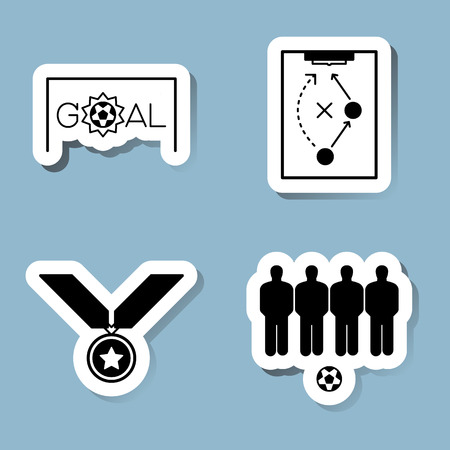 soccer goal: soccer icon set vector illustration. goal, score, plan, strategy, medal, wall, free kick, ball and player. Illustration