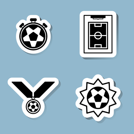 stop watch: soccer icon set vector illustration. stop watch, ball, plan, strategy, medal, reward, championship, win, winner, goal, score and shoot. Illustration