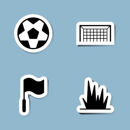 soccer goal: soccer icon set vector illustration. ball, goal, flag and grass.