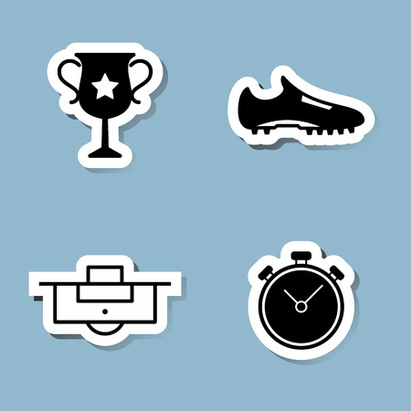 stop watch: soccer icon set vector illustration. championship trophy cup, shoe, boot, penalty and stop watch.