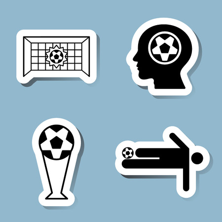 goal net: soccer icon set vector illustration. goal, net, score, head, think, trophy, cup, championship, victory, win, shoot, kick and player. Illustration