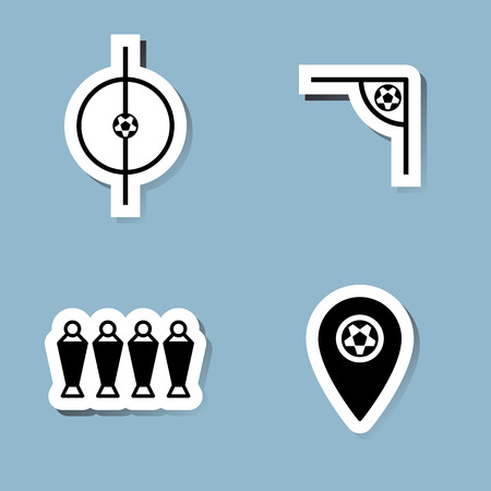 map pin: soccer icon set vector illustration. ball, center, corner, wall, player and map pin.