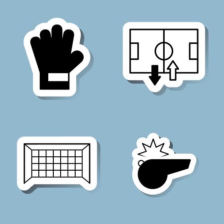 soccer goal: soccer icon set vector illustration. goalkeeper glove, stadium, field, substitution, goal, net and whistle.