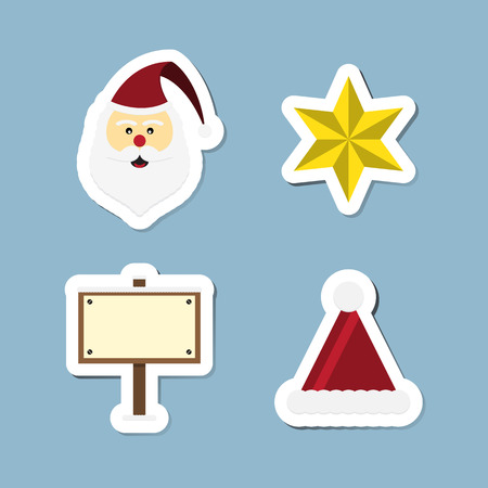 wooden hat: Christmas icon set vector illustration. santa clause, star, wooden sign board and hat.