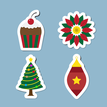 christmas cake: Christmas icon set vector illustration. cake, sweet, leaf, wreath, tree and ball.