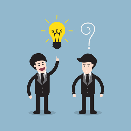 different idea: businessman think different with bright light bulb on top of head and the others are question mark, think different idea concept.  Illustration