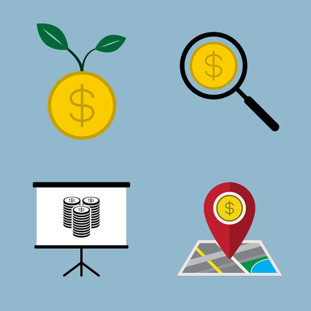 presentation board: money icon set financial concept illustration. seed plant, search magnifying glass, presentation board, and pin with map.