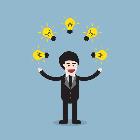 juggle: business man standing juggling with many of bright light bulb, creative idea concept. Illustration