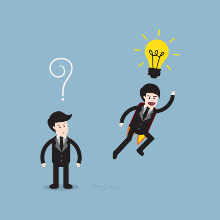 different idea: businessman think different with bright light bulb on top of head and the others are question mark, think different idea concept.