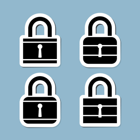 lock icon set illustration