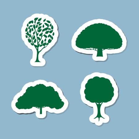photosynthesis: tree icon set illustration