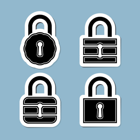 lock block: lock icon set illustration