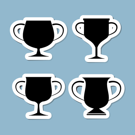 incentive: trophy cup icon set illustration