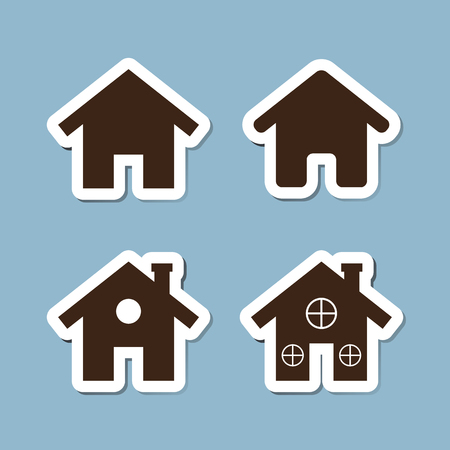 habitats: house icon set illustration Illustration