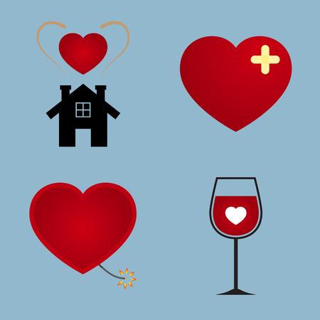 happy couple house: love icon set vector illustration