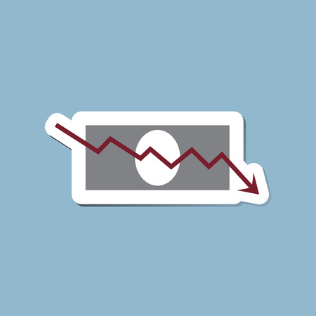 bank note: stock crisis arrow down with bank note vector illustration.