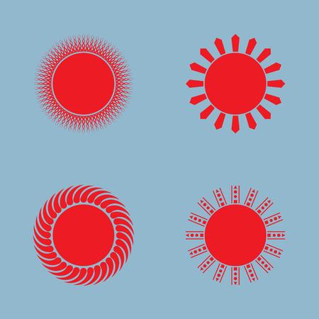 warm weather: sun icon set vector illustration