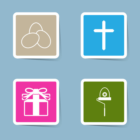 paint roller: Easter icon set vector illustration. egg, cross, present, gift and paint roller.