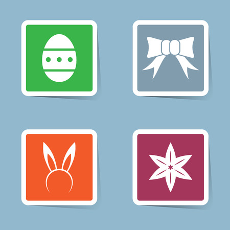 hairband: Easter icon set vector illustration. egg, bow, ribbon, rabbit, hairband, lily and flower.