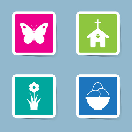 church flower: Easter icon set vector illustration. butterfly, animal, insect, cross, church, flower, plant, field, spring, garden, egg and bowl.