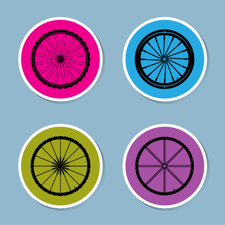 bicycle wheel: bicycle wheel icon set vector illustration Illustration
