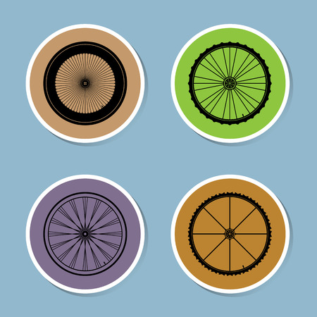 aluminum wheels: bicycle wheel icon set vector illustration Illustration