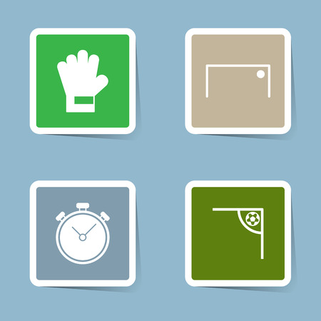 stop watch: soccer icon set vector illustration. goalkeeper, glove, goal, ball, score, stop watch, time and corner.