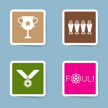 foul: soccer icon set vector illustration. trophy, cup, championship, victory, win, winner, player, wall, medal, reward and foul.