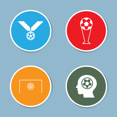soccer goal: soccer icon set vector illustration. medal, reward,  championship, victory, win, winner, trophy, cup, goal, shoot, kick, head, human, think, plan and strategy.